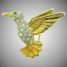 Vintage small figural hummingbird Scatter Pin with crystal rhinestones