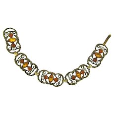 Vintage gold tone link Bracelet with topaz rhinestones