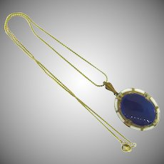 Vintage pendant Necklace with enamel and navy blue oval cabochon