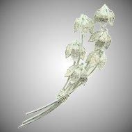 Vintage silver tone floral spray Brooch