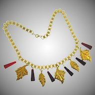 Vintage book chain link Necklace with leaves and red glass dimensional pyramid pieces