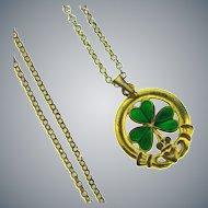 Signed Sol D'or Claddagh with shamrock pendant necklace