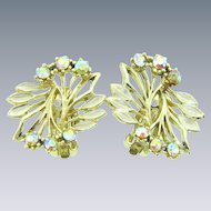 Vintage large 1960's clip back Earrings with AB rhinestones