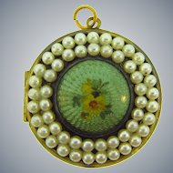 Vintage guilloche Locket with imitation pearls