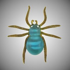 Vintage figural spider Brooch with blue Lucite body and rhinestone eyes