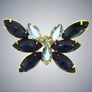 Vintage smaller rhinestone figural butterfly Brooch with blue and crystal stones
