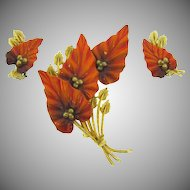 Vintage floral Brooch and clip back Earrings in fall shades