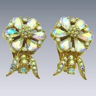 Vintage clip back 1960's floral AB rhinestone Earrings