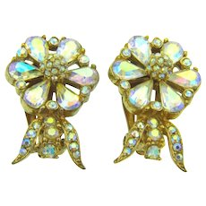 Vintage clip back 1960's floral AB rhinestone Earrings