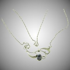 Signed Sorrento sterling filigree Necklace with hematite stone
