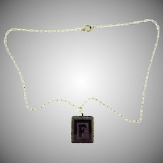 Vintage fine link Necklace with jet letter F pendant.