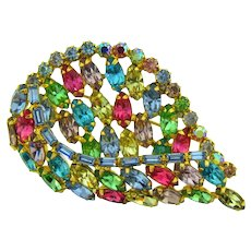 Vintage colorful rhinestone 1960's Brooch
