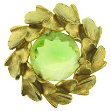 Vintage large gold tone floral Brooch with chartreuse faceted glass stone