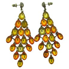 Vintage dangling pierced Earrings with amber and citrine Lucite drops