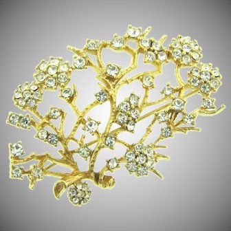 Signed Ciner floral spray Brooch with crystal rhinestones