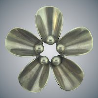 Signed N.E. From Denmark 925 S sterling modernistic flower Brooch