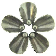 Signed N.E. From Denmark 925 S sterling modernistic flower Brooch
