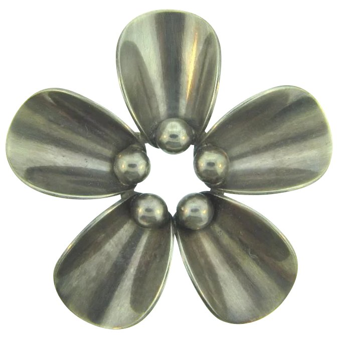 FROM Designer Signed N.E Handwrought Danish Floral Brooch xlnt condition Vintage Sterling Silver