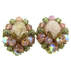 Signed Hobe vintage clip back Earrings with pink and smoky beads