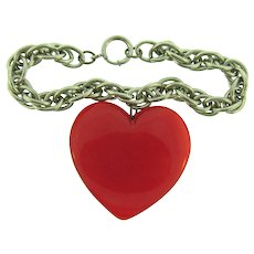 Vintage silver tone heavy link Bracelet with large Lucite red heart