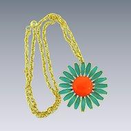 Signed  Weiss large pendant enamel flower Necklace