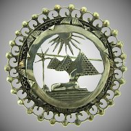 Vintage Egyptian themed sterling silver Brooch
