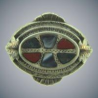 Victorian Scottish agate sterling silver smaller Brooch