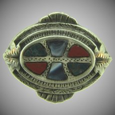 Victorian Scottish agate sterling silver smaller Brooch