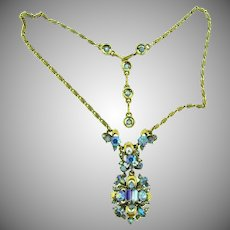 Signed Hollycraft copr 1957 gorgeous blue rhinestone pendant Necklace