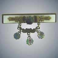 Edwardian Bar Pin with Mother of Pearl and rainbow paste stones