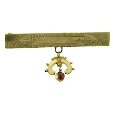 Vintage Edwardian gold filled Bar Pin with decorative dangle and garnet bead