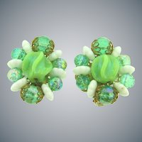 Signed Hobe large clip back Earrings in green tones