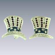 Signed Monet vintage pair of patriotic Uncle Sam hat Scatter Pins with rhinestones