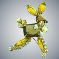 Juliana D&E Book Piece figural running deer Brooch with topaz and AB rhinestones