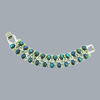 Signed Pegasus Coro link Bracelet with iridescent cabochons and AB rhinestones