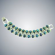 Signed Pegasus Coro link Bracelet with iridescent cabochons and AB rhinestones