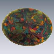 Vintage enamel on copper oval Brooch