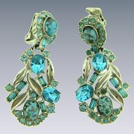 Signed Hollycraft vintage dangling clip back Earrings with turquoise blue rhinestones and art glass cabochons