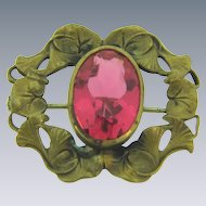 Vintage early 1900's small Brooch with pink glass stone