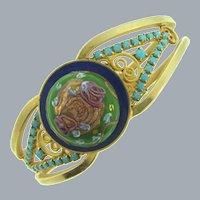 D&E Juliana clamper Bracelet with large gold tone fluss cabochon