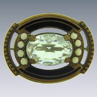 Early vintage smaller Brooch with enamel and crystal glass stone