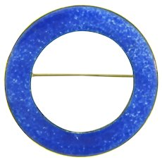 Vintage enamel on copper circular Brooch