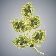 Vintage floral Brooch with citrine and olivine rhinestones