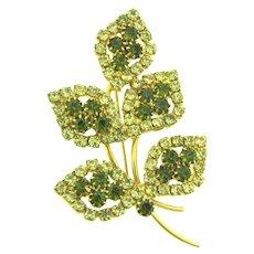 Vintage floral Brooch with citrine and olivine rhinestones