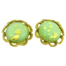 Vintage gold tone clip back Earrings with green thermoset green  cabochons