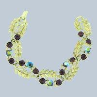Signed Lisner 1960's link Bracelet with purple rhinestones