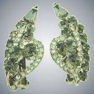 D&E Juliana clip back Earrings with smoky and crystal rhinestones