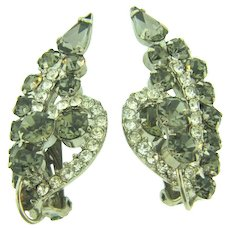 D&E Juliana clip back Earrings with smoky and crystal rhinestones
