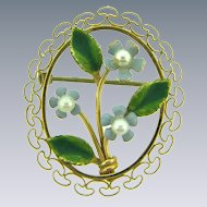 Signed Krementz 14Kt gold overlay Forget Me Not flower Brooch with pearls and enamel