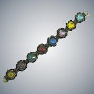 Vintage floral link Bracelet with multicolored faceted glass stones